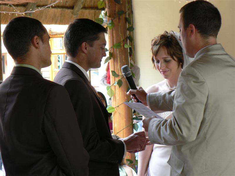 Nico and Mary-Anne exchanging vows